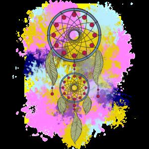 Bunter Traumfänger Wasserfarben Federn