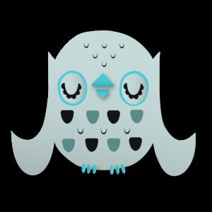 Eule Abstrakt Hellblau