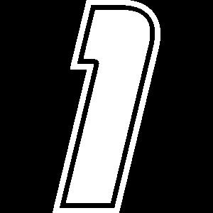 Startnummer 1 weiss, Zahl eins
