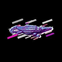 Krokodil Kunstfigur 80er Retro Violett