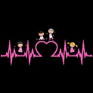 Herzschlag Herz Kinder Liebe Erzieher Beruf pink