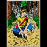 moderne elf zittend in een bos.