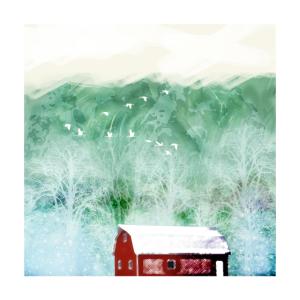 Red Barn in the Woods - Winter Landschaft