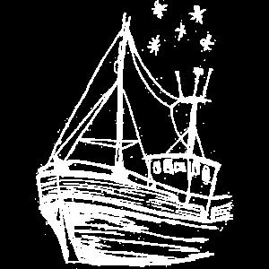 Zeichnung: Schiff in weiß