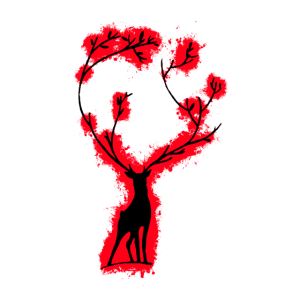 Silhouette tier Rot und Schwarz Umriss