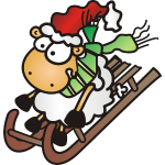 Schaf mit Schlitten, Schal und Mütze