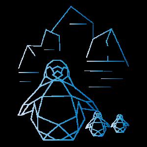 Origami Pinguin Nordpol Eis Kristall Scholle Winte