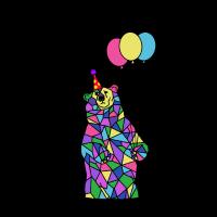 Geburtstagsfeier-Bär mit Ballonen