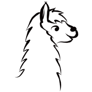 Lama Porträt schwarz