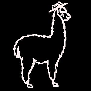 Lama Mit Hut weiß