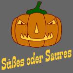Halloween Süßes oder Saures mit Kürbis und Gesicht