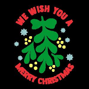 Frohe Weihnachten! Mistelzweig Schneeflocken