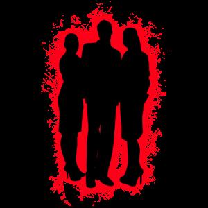 Zusammenspiel Geschäftsfrau Rot und Schwarz Umriss