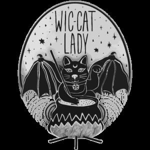 Wic-cat lady funny halloween shirt