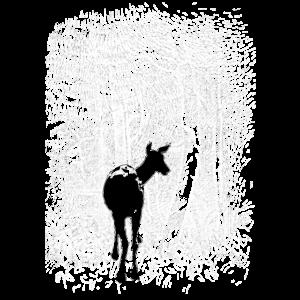 Wald Reh WEISS Umkehrbild