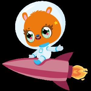 Süßes Tier auf Rakete