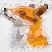 Fuchs modern Poster - Wasserfarben Effekt