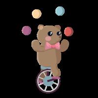 Bär auf einem Einrad beim Jonglieren
