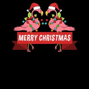 Zwei lustige Flamingos und Frohe Weihnachten