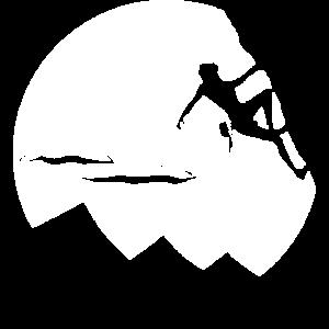 Kletterer am Fels weiß