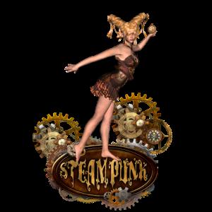 Nettes steampunk Mädchen mit Uhren und Gängen