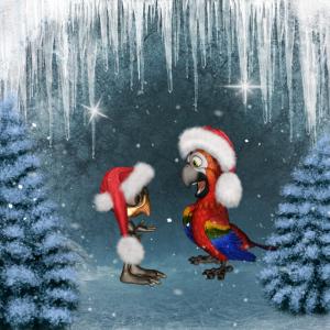 Frohe Weihnachten süße kleine Vögel