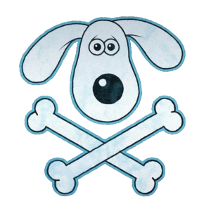 Hundekopf mit Knochen