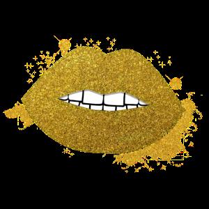 Lippen Glitzer Mund Gold Edel Kussmund Modern