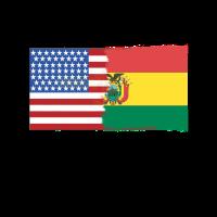 Halbe Bolivien halbe USA Flags