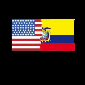 Halbe Ecuador halbe USA Flags