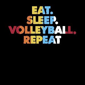 Retro essen. Schlaf. Volleyball. Wiederholen. Jahrgang
