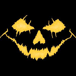 Monster Fratze, weiß-gelb
