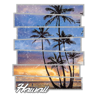 Hawaii-Strand-Hawaii-Sonnenuntergang-Retro- Foto-Insel