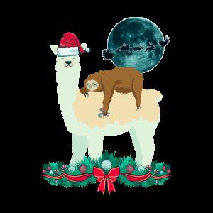 Lama Faultier Weihnachten Santa's Silhouette