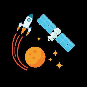 Rakete Sonne Mond Planeten Sterne Weltraum