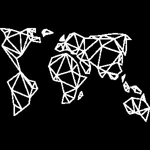 Geometrische Weltkarte Geschenk Idee weiss