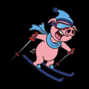 Schwein Skiurlaub T-Shirt Geschenk Ski Fahrer