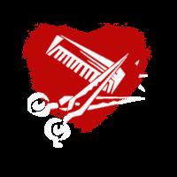 Heart mit kamm und schere