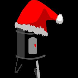 Smoker mit Weihnachtsmütze