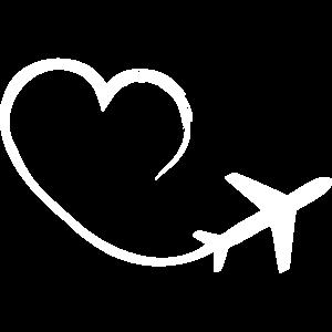 Reiselust - Herz - Flugzeug- Fliegen Reisefieber