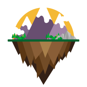 Flaches Design - Berge und See - Geschenkidee