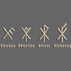 Runes Chance Réussite Amour Doré