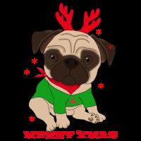 Merry XMAS Mops Weihnachtsmann Geschenk