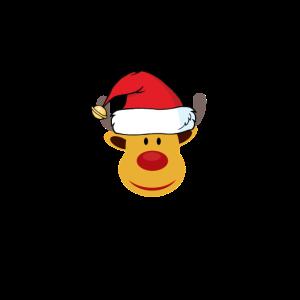 Rentier mit Muetze Weihnachten Geschenk Gelb gold
