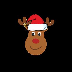 Rentier mit Muetze Weihnachten Geschenk braun
