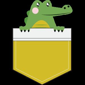 Süßes Krokodil in der Hemdtasche