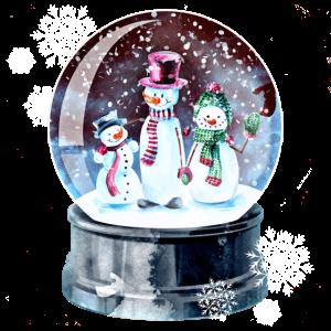 Schneekugel mit Schneemännern