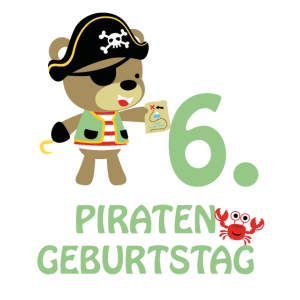 Piraten sechster Geburtstag 6 Jahre Sechs T-Shirt