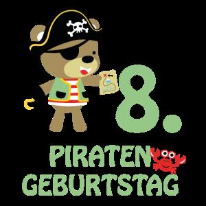 Piraten Geburtstag 8 Jahre Acht T-Shirt
