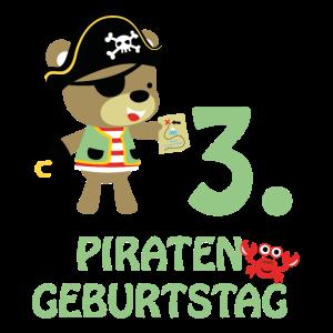 Piraten Dritter Geburtstag 3 Jahre Drei T-Shirt